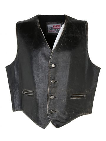 Vintage Indian Motorcycles Leather Biker Waistcoat - XL