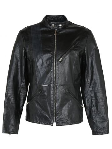 Vintage 80's Black Cafe Racer Style Leather Jacket - S