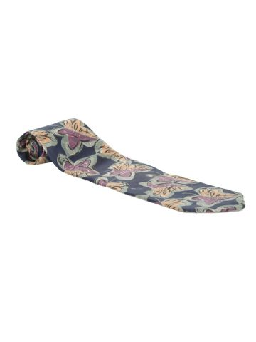 Christian Dior Navy, Green, Yellow & Purple Leaf Print Silk Tie