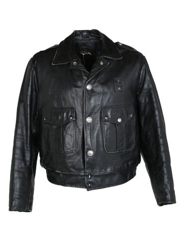 Vintage 70's Chicago Police Leather Biker Jacket - M