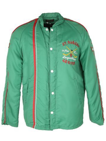 Vintage 70s Dan Swist Embroidered Green Nylon Hockey Jacket - M