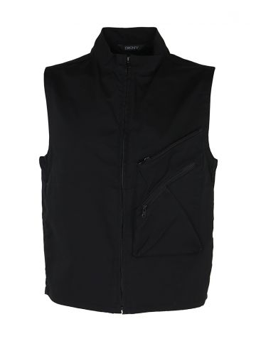 Black Cotton DKNY Zipped Gilet - L