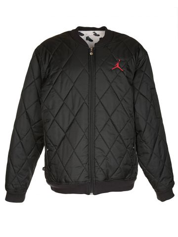 Black Quilted Bomber Jacket - XL