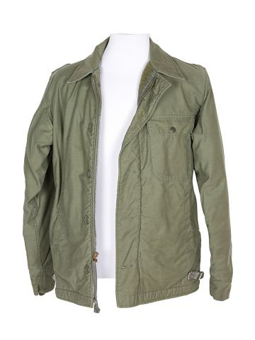 80s US Navy Khaki Green Military Field Jacket - S