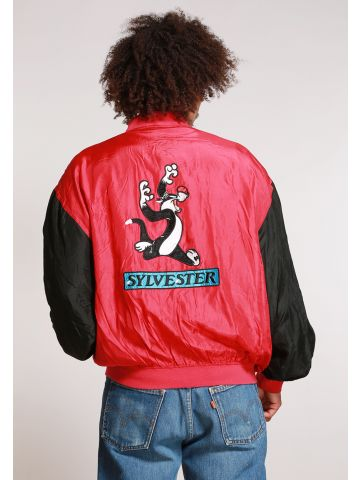 90s Silk Red Looney Tunes Sylvester Bomber Jacket - L