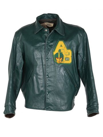 70s Green Leather Letterman Bomber Jacket - L