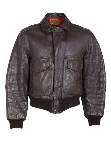 Vintage 50s Brown Steerhide Leather Penneys A2 Flight Jacket - M