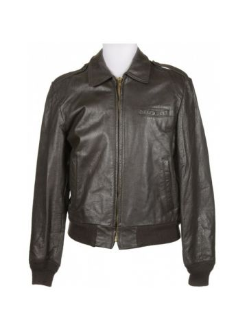 Brown Leather Zip Through Jacket - S