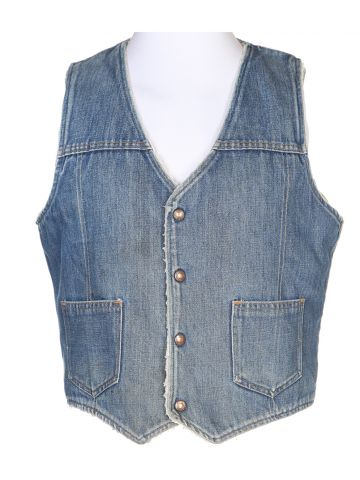Blue Fleece Lined Sleeveless Jacket - M