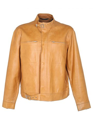 DKNY Tan Leather Biker Jacket - L