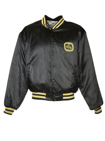 80s Stag Beer Black Coach Jacket - M