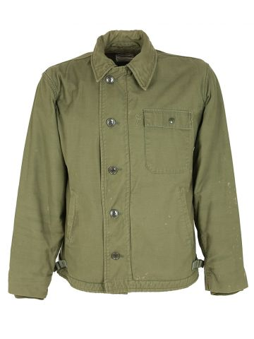 70s US Navy Khaki Green Military Field Jacket - M
