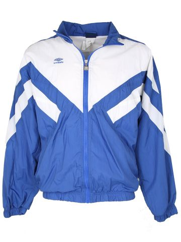 90s Umbro Blue and White Shell Jacket - M