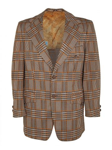 70s Brown Prince of Wales Check Blazer Jacket - M