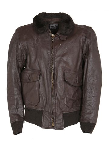 70s Brown Leather Flight Pilot G1 Jacket - M