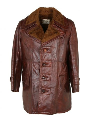 Vintage 70s Leather leather Coat - L