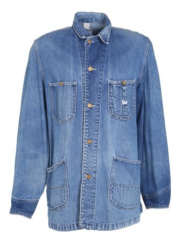 70s Lee Light Blue Rinse Denim Chore Jacket - L