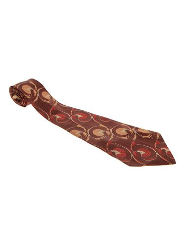 40s 50s Brown Swirl Embroidered Tie