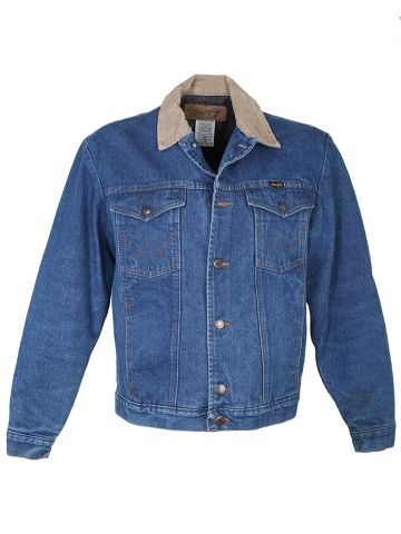 1980s Wrangler Blue Denim Blanket Lined Jacket -