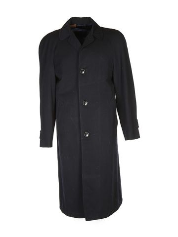60s Blue Wool Overcoat - S