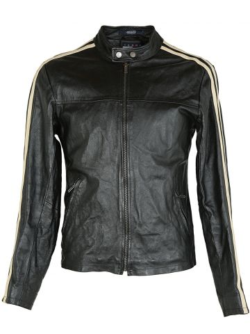 90s Tommy Hilfiger Black Leather Jacket - S