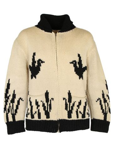 Vintage 70s Heavy Knit Cowichan Style Cardigan - M