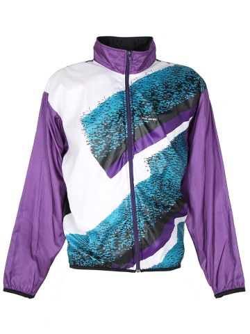90s Louis Garneau Purple and White Cycling Track Jacket - L