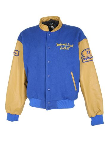 80s Blue Wool & Mustard Leather Letterman Bomber Jacket - XL