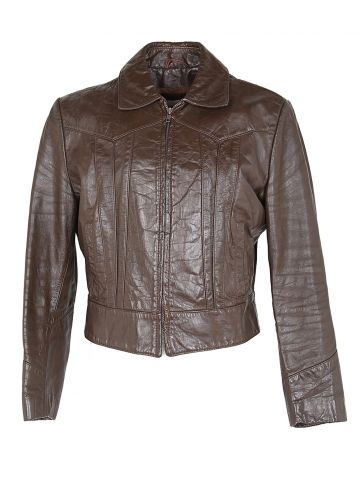 Vintage 70s Brown Leather Hipster Jacket - M