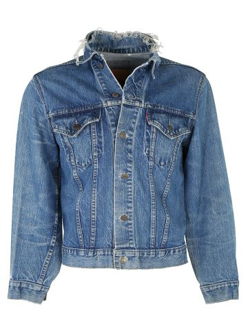Levis Blue Rinse Type 3 Big E Trucker Jacket w Distressed Collar -