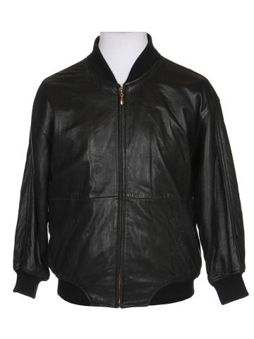 90s Black Leather Bomber Jacket - XS