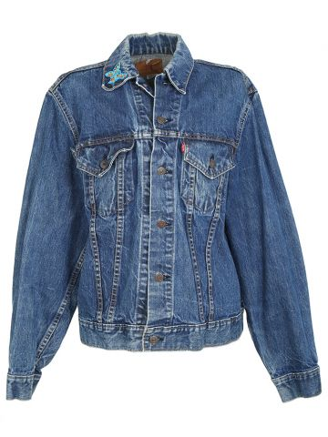 Vintage 70s Levi's BIG E Embroidered Denim Trucker Jacket - L