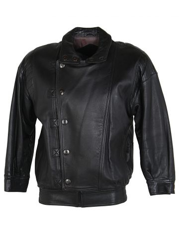 Franco Di Marco Italian Black Leather Biker Style Jacket - M