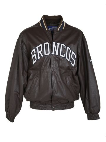 Starter x NFL Leather Broncos Bomber Jacket - L