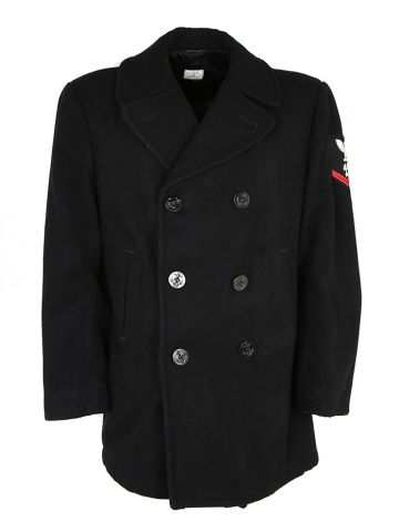 90s Wool US Navy Pea Coat - M
