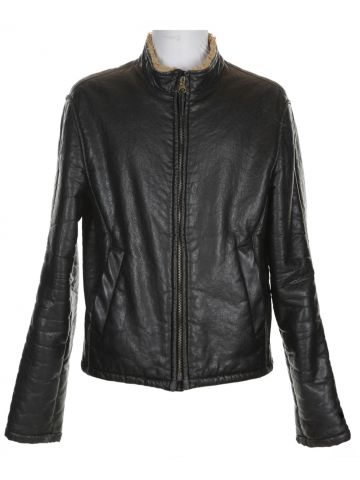 Black Armani Bomber Vegan Leather Jacket - M