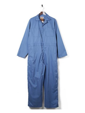 70s 80s Blue Short Sleeve Overalls - XL