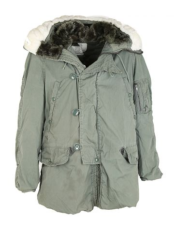 80s US Air Force Green Parka Coat - L