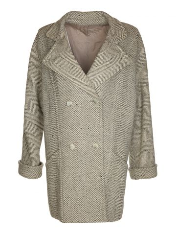 80s Grey Wool Coat - L