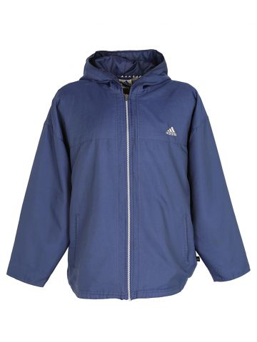 90s Adidas Navy Blue Hooded Jacket - L