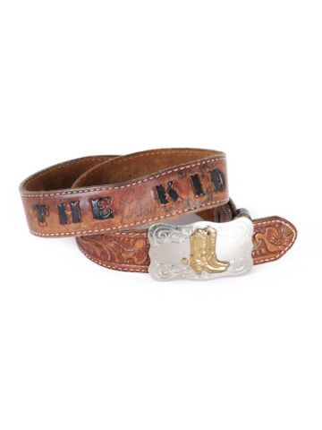 Brown Tooled Leather 'The Kid' Western Belt