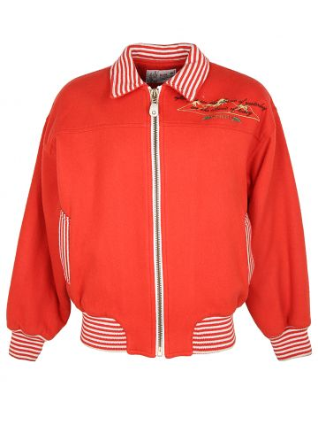 90s Orange Sport Varsity Style Bomber Jacket - XL