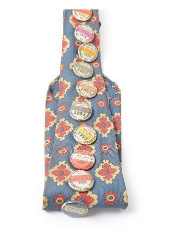 Vintage 50s Patterned Tie with Original badge Pins