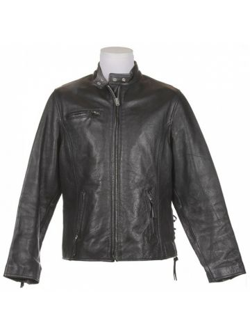 Black Leather Cafe Motorcycle Jacket - M