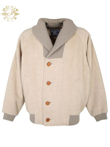 Burberry Beige Herringbone Bomber Coat Jacket - XL