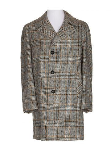 70s Grey Tweed Wool Overcoat - XXL