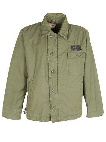 60s US Navy Khaki Green Military Jacket - L