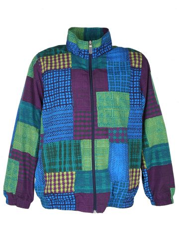 90s Abstract Check Purple & Blue Track Jacket - L