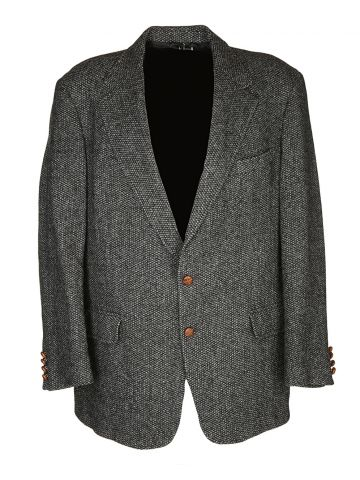 70s Grey Harris Tweed Jacket - XL