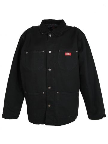Black Dickies Work Wear Jacket with Cord Collar - L